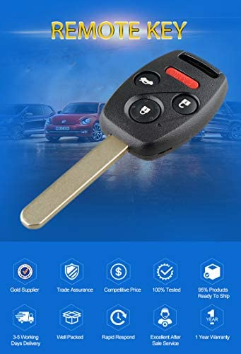 N5F-S0084A ID46//PCF7961 Chip 313.8Mhz Replacement For 2006 2007 2008 2009 2010 2011 Honda Civic EX Si Keyless Entry Key Remote 4 BUTTON FCCID