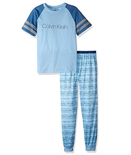 Calvin Klein Boys' 2 Piece Sleepwear Long Sleeve Top and Bottom Pajama Set Pj, Bell, Ck Blue Gray Logo, XL