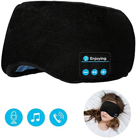 Sleeping Eye Mask Sleep Headphones,Lavince Travel Sleeping Headphones 5.0 Bluetooth Eye Mask Handsfree Music Sleep Eye Shades Headset Built-in Speakers Microphone Washable Black