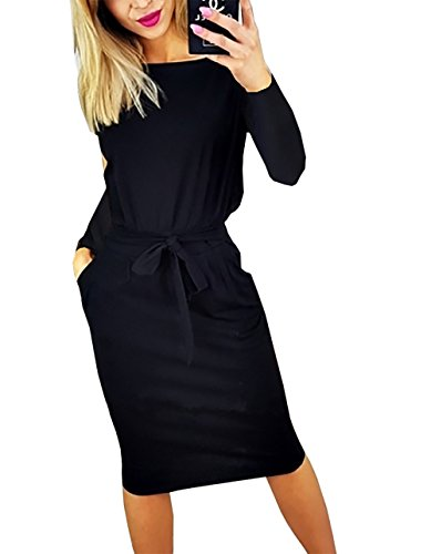 PRETTYGARDEN Women's 2018 Casual Long Sleeve Party Bodycon Sheath Belted Dress with Pockets (Y-Black, X-Large)