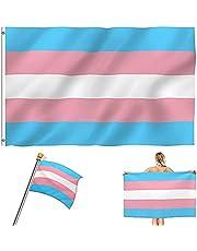 Transgender-vlag, transgender pride vlag, transgender vlag, trans vlag, met messing 2-ringhaak 90 x 150 cm, gebruikt voor transgender-feestjes (3 kleuren)