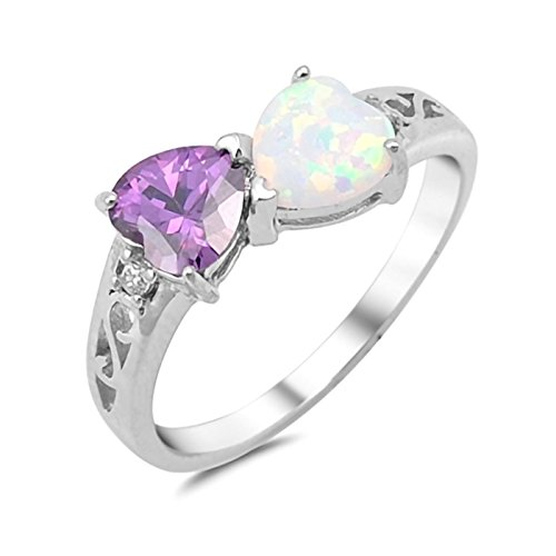 Double Heart Lab Created Opal Simulated Birthstone CZ 925 Sterling Silver Ring Size 7 -AmethystWhite Double Created Opal Ring