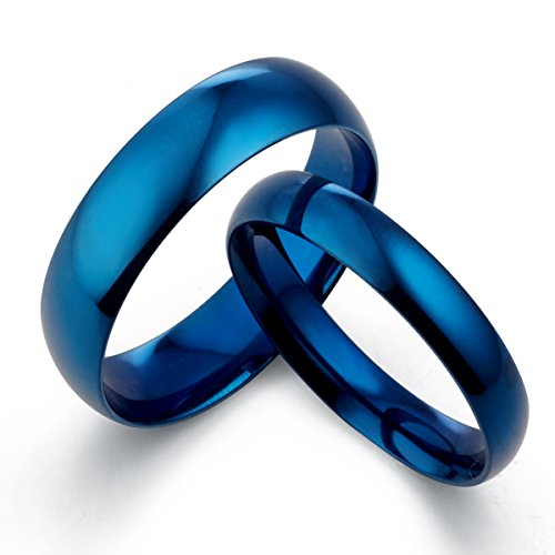 Gemini His & Her 's Dome Blue Polish Promise Couple Wedding Titanium Ring Set Width 6mm & 4mm Men Ring Size : 13 Women Ring Size : 4 Valentine's Day Gifts by Gemini Jewelry