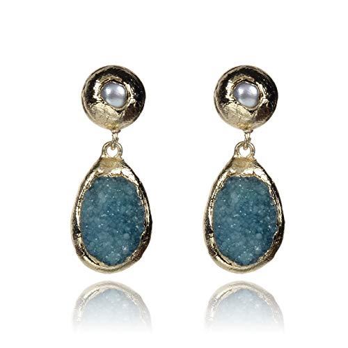 - Fashion earring for women, gemstone earring, novelty earring for girl, special earring for lady, light blue geode and pearl earring