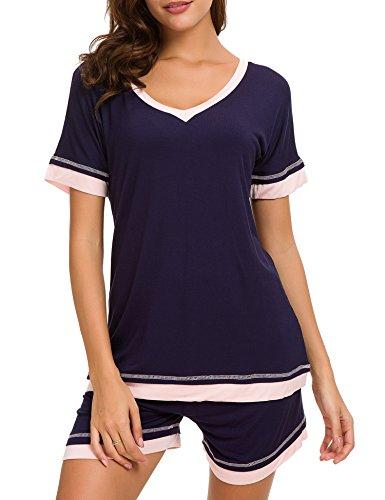 Dolay Sleepwear Women V-Neck Pajama Set Cotton Short Sleeve PJS Set (Navy, Large) by Dolay