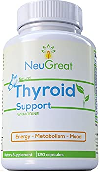 Thyroid Support Supplement with Iodine 120 Caps, 100% MONEY BACK GUARANTEE, Vitamin B12, Zinc, Ashwagandha - Energy, Metabolism, Mood & Weight loss Formula, MADE IN USA