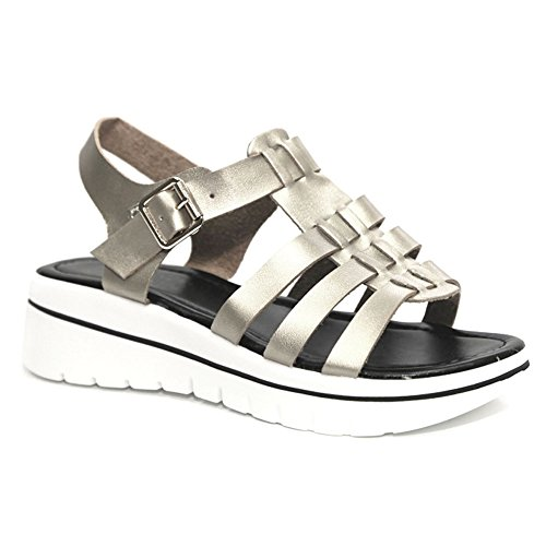 Sale Metallic Silver Strappy Leather Open Toe Slingback Mini Wedge Rubber Platform Heel Slip On Fashion Ver Zapatos Escolares De Mujer Sketchers Sandal Shoe Easter Gift for Women Girl (Size - Mini Platform Sandal Slingback