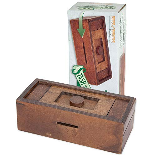 Bits and Pieces - Stash Your Cash - Secret Puzzle Box Brainteaser - Wooden Secret Compartment Brain Game for Adults (Money As Gifts)