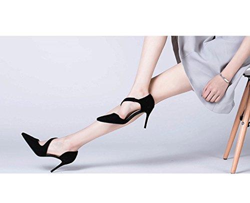 Dream Spring New Elegant High Heels Female Summer Pointed High Heels Wedding Shoes (Color : Black, Size : 35)