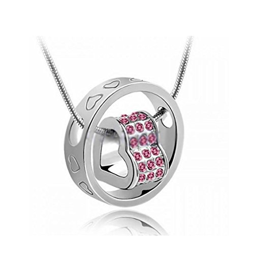 DDU(TM) 1Pc Pink- Unique Love Heart Ring Shape Crystal Rhinestone Pendant Neck Chain Necklace Valentines Day Gift