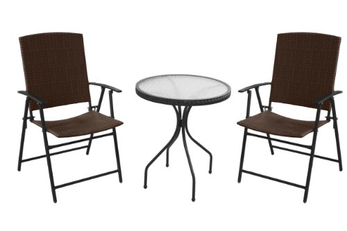 Hiland AW-085 3 Piece Woven Resin Wiker Outdoor Furniture Chair and Table Set, Dark Brown (Az Repair Furniture Patio)
