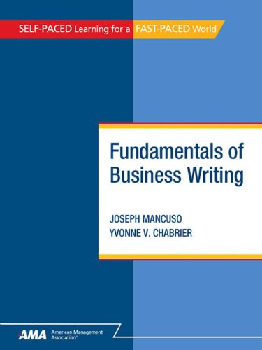 fundamentals of business writing mancuso joseph chabrier yvonne v