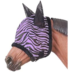 Tough-1 Zebra Mesh Fly Mask Purple Zebra