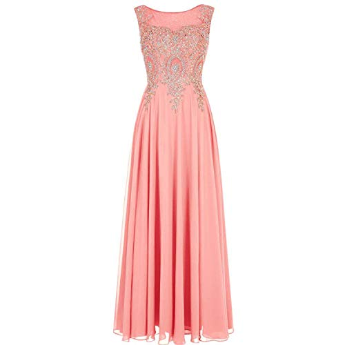 2004 Prom Dress - Richly Shop Crystal Gold lace Chiffon A-line Back Formal Long Prom Dress Evening Dress,10,Coral