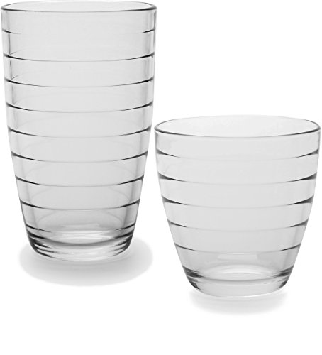 Circleware Ring Huge Set of 16 Drinking Glasses, 8-16oz and 8-13oz Double Old Fashioned Whiskey Glass by Circleware