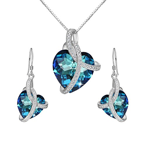 Inspired Necklace Earrings - EleQueen 925 Sterling Silver CZ Courageous Heart Inspired Pendant Necklace Hook Earrings Set Bermuda Blue Made with Swarovski Crystals