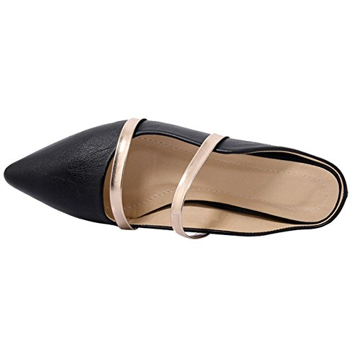 Black pu Single Toe Flats for Pointed Women Mules Two Backless Narrow Comfity Slippers Dress Band Slides nZq866