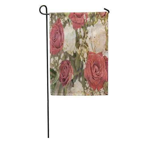 Semtomn Garden Flag Filagree Vintage Floral Red and White Roses Paisley Abstract Aged Home Yard House Decor Barnner Outdoor Stand 12x18 Inches Flag ()
