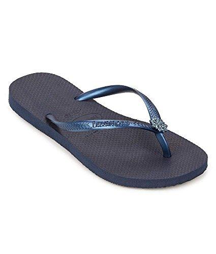 Havaianas Women's Slim Crystal Poem Sandal, Navy Blue/Navy Blue/Navy Blue,39/40 BR (9-10 M US) (Navy Blue Crystal)