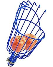 """Home-X Fruit Picker Basket, Apple Picking Harvester, Tree Fruit Tool with Cushion, Orchard Picking Basket, Add You Own Pole, 13 ½"""" L x 6"""" W x 6"""" H, Blue"""