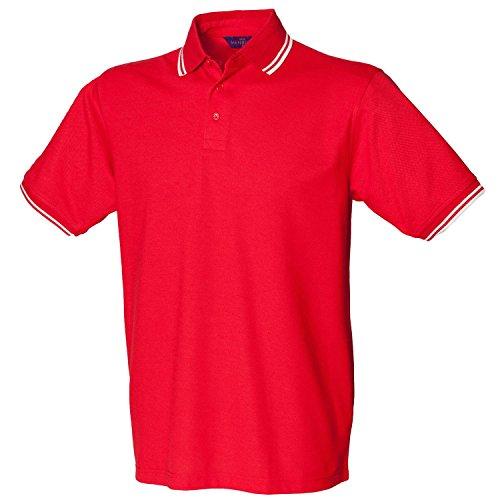 Henbury Kontrast Trinkgeld Pique Polo Shirt 450rot/weiß XXL