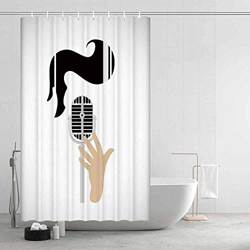 Elvis Presley Decor Comfortable Shower Curtain,Vintage Microphone and Retro Haircut Iconic Singers Hairstyle Fashion Decorative for Showers Stalls and Bathtubs,39.37