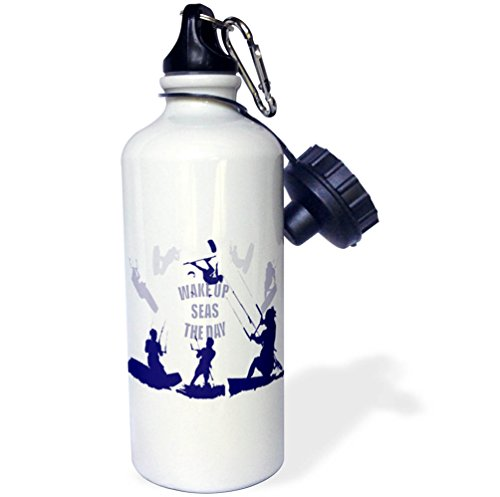 3dRose Taiche - Vector - Kitesurfing Wakeboarding - Wake Up Seas The Day Kiteboarder In Blue Shades - 21 oz Sports Water Bottle (wb_269754_1) by 3dRose
