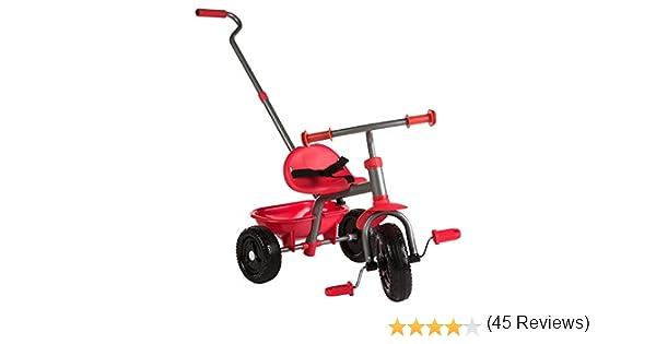 ColorBaby - Triciclo con mango extensible, Color Rojo (43451): Amazon.es: Juguetes y juegos