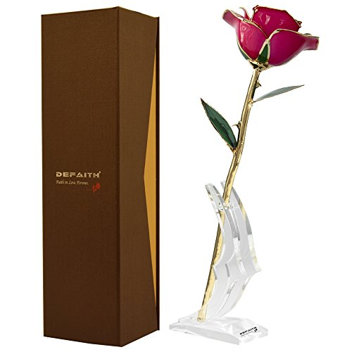 Deep Pink Gold Rose, DEFAITH® 24K Gold Trimmed Long Stem Real Rose with Moon-shape Rose Stand. Last a Lifetime. Best Anniversary Gift. (Pink Long Stem Vases)
