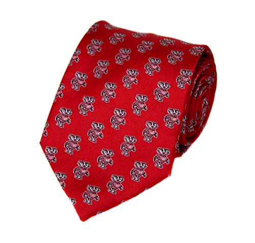 NCAA Wisconsin Badgers Repeating Primary Necktie with Bucky Logo, Red, One Size