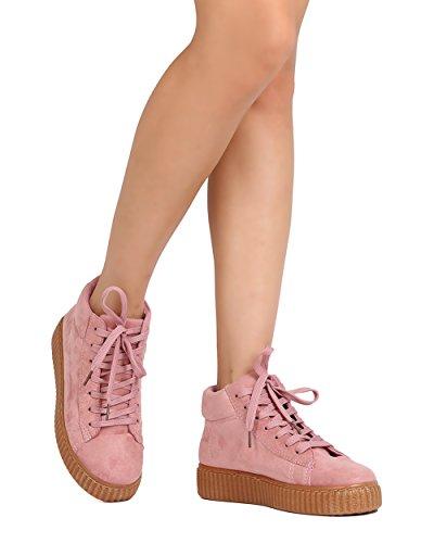 Qupid Ff61 Femme Faux Suede Lacets Haut Haut Sneaker Flatform - Rose