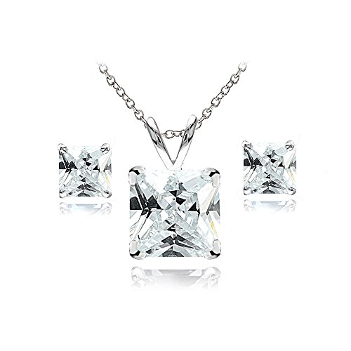 GemStar USA Sterling Silver White Topaz Square Solitaire Necklace and Stud Earrings -