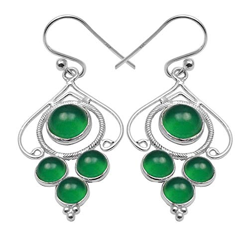 - Silver Palace Sterling Silver Handmade And Natural Green Onyx Earring For Womens And Girls