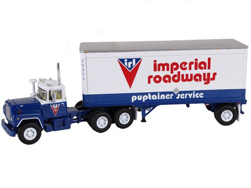 Mack R Model With 28' Pop Trailer Imperial Roadways 1/64 Diecast Model by First Gear 60-0265 ()