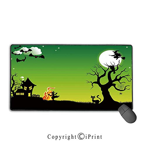 Large Mouse pad,Halloween Decorations,Witch Dancing with Fire at Halloween Ancient Western Horror Image,Green Black,Suitable for laptops, Computers, PCs, Keyboards, Mouse pad with Lock,9.8