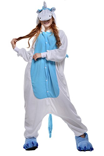 NEWCOSPLAY Unisex Adult Unicorn Pyjamas Halloween Costume (M, Blue Unicorn) -