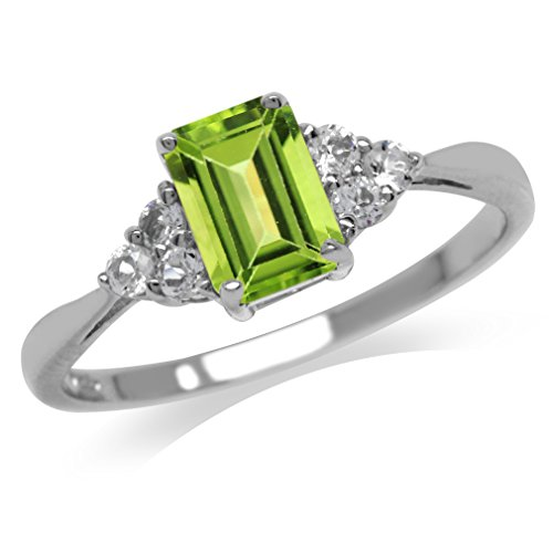 1.08ct. Genuine Peridot & White Topaz 925 Sterling Silver Engagement Ring Size 4.5