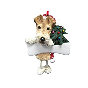 "Wire Fox Terrier Ornament with Unique ""Dangling Legs"" Hand Painted and Easily Personalized Christmas Ornament 48"