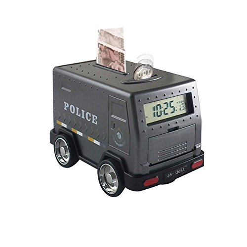 Mydears Armored Car Piggy Bank Password Electronic Smart Money Bank Cash Coin Safe Saving Box ATM Bank Safe Locks Funny Alarm Clock Money Piggy Box for Children From (Black police car)