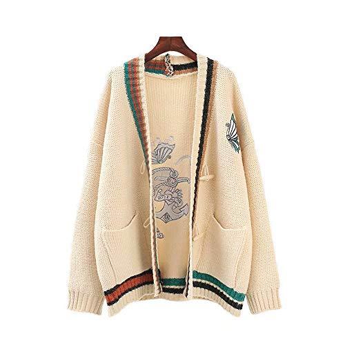 ユウエ ニット レディース カーディガン セーター ニットカーディガン Vネック 刺繍 ロングコート アウター 018-yfy-c611