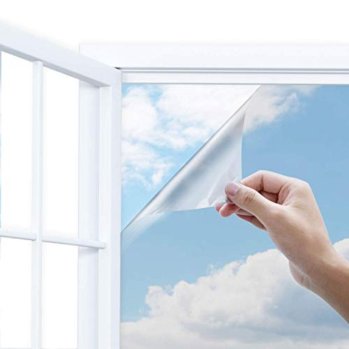 Uiter One Way Window Film-- Anti UV Static Cling Window Film 100% Light Blocking For Privacy Removal Decorate Heat Control Glass Tint Home Office Windows.(35.4