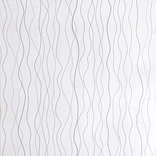 Wallpaper Silver White Contact Paper Self Adhesive Wallpaper Removable Peel and Stick Wallpaper Print Modern Embossed Classic Plain Stripe Moonlight Forest Shelf Drawer Liner Wall Vinyl17.7'' x78.7''