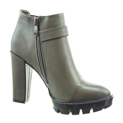 Sopily - Chaussure Mode Bottine chelsea boots Cheville femmes boucle Talon haut bloc 11 CM - Khaki