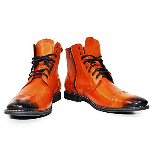 Bottines Pallullo Modello Des Cuir Souple Pour Italiennes Lacer Handmade Orange Peppeshoes Hommes Bottes Fv4pnaqa6