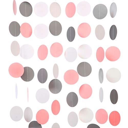 Gray Pink White Paper Garland Circle Dots Party Garland Streamer Backdrop Hanging Decorations, 2.5