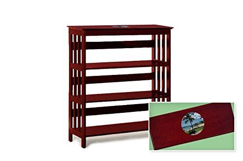 New Cherry Finish Book Shelf Sofa Table featuring Hawaii Beach Logo Theme by The Furniture Cove