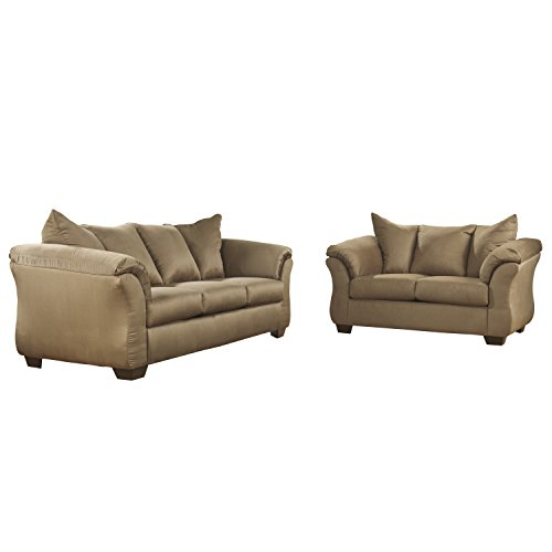 Flash Furniture Signature Design by Ashley Darcy Living Room Set in Mocha Microfiber (Room Living Mocha Set)