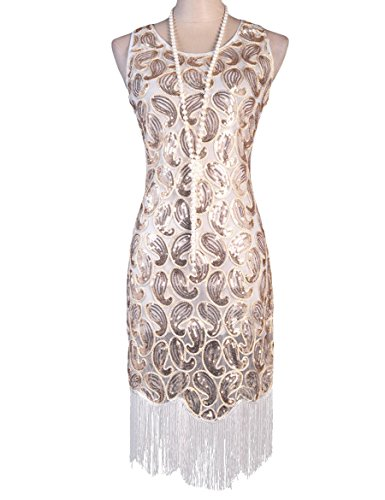PrettyGuide Women's 1920s Sequin Paisley Racer Back Tassels Flapper Cocktail Dress – Small, White
