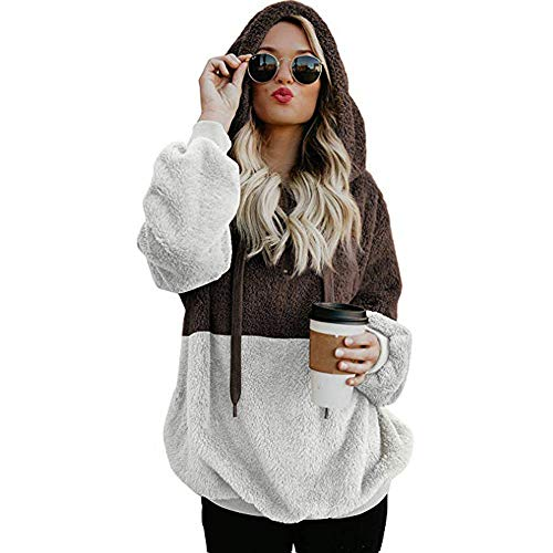 Sweatshirt Chandail Polaire Pull Hoodie 46 Pullover Sweater Femme Femme Caf Vert 38 EU Noir Caf Capuche Colorblock Gris Sweats Capuche GongzhuMM qwX7SX4