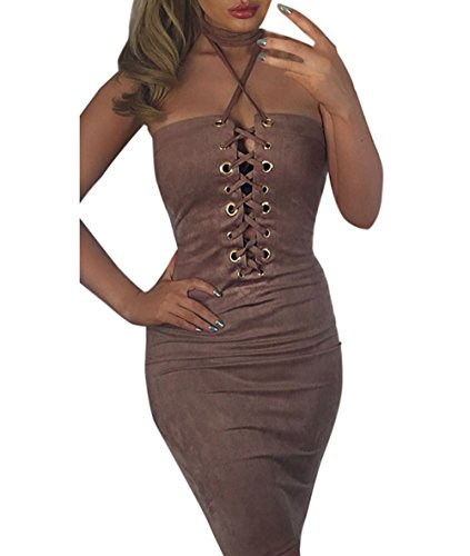 Dress, Han Shi Women Summer Sexy Strapless Solid Sleeveless Bandage Skirt (M, Coffee)